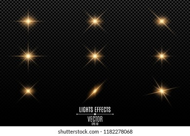 Collection of flashes, lights and sparks. Optical flares. Abstract golden lights isolated on a transparent background. Gold flashes and glares. Vector illustration. EPS 10