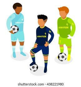 Collection of flat 3d isometric soccer players in different positions.