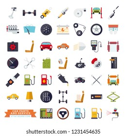 Collection of flat design car parts, service and repair icons. Isolated automotive vector symbols set.