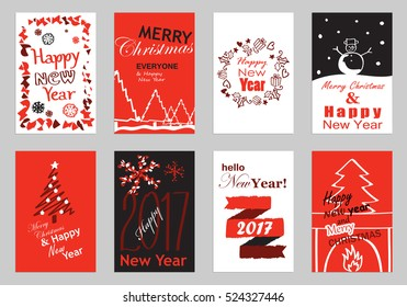 Collection of flat design greeting cards,vector illustration.Hand drawn vintage,modern and retro placard set with lettering.For promotional material,website and mobile app,marketing,newsletter and ads