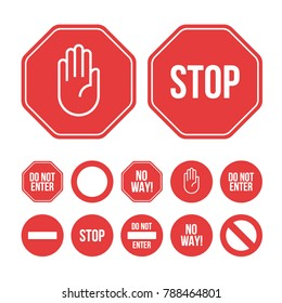 Collection of flat design stop sign icons and pictograms. Abstract stylish vector danger signs on a white background