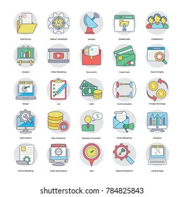 Collection Of Flat Digital and Internet Marketing Icons