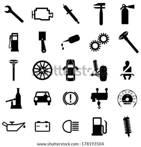 Collection Flat Icons Car Symbols Vector Stock Vector Royalty Free