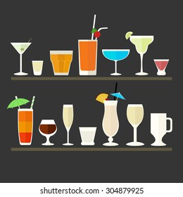 Collection of flat icons of different glasses for cocktails and drink.