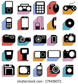 Collection flat icons with long shadow. Multimedia symbols. Vector illustration.