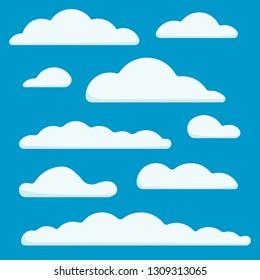 Collection of flat light clouds on blue sky background. Vector illustration set.