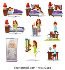 Collection of flat mini compositions showing all stages of morning awakening from wake up call to shower breakfast and make up vector illustration