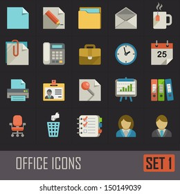 Collection of flat office icons on dark background