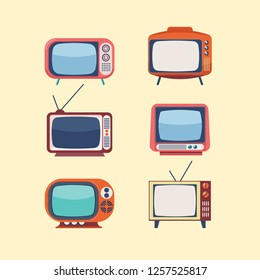 Collection of flat retro style television sets in mid century pastel colors