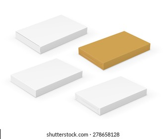 Collection of flat short blank  boxes with place for your design. Vector template