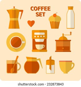 Collection of flat style coffee icons with shadow