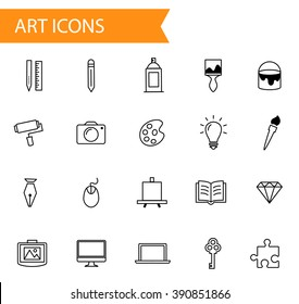 Collection of flat thin line vector icons, art, design and graphics icon set in modern style, different artistic objects signs, material design