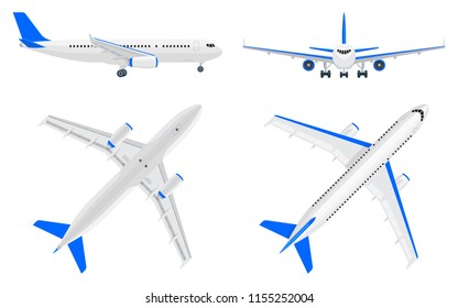 Collection of flat vector airplane in different points of view. Set of white realistic plane in top, side, bottom view and face view. Passenger airliner with blue accents.  Front view of air bus.