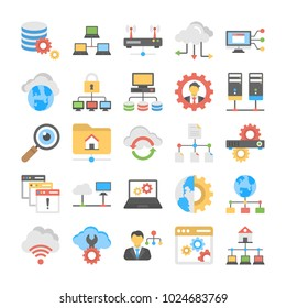 Collection Of Flat Vector Web Hosting Icons