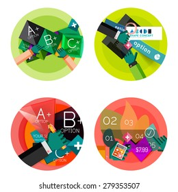 Collection of flat web infographic concepts and banners, various universal set. Paper graphics with gestures, data presentation