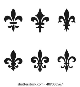 Collection of fleur de lis symbols, black silhouettes - heraldic symbols. Vector Illustration. Medieval signs. Glowing french fleur de lis royal lily. Elegant decoration symbols.