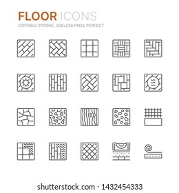 Collection of floor related line icons. 256x256 Pixel Perfect. Editable stroke