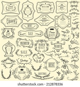 Collection of floral design elements and frames for invitations, greetings and menus. Vector illustration