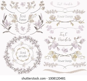 Collection of Floral Design Elements. Hand Drawn Dividers, Text Frames, Wreaths with Branches and Flowers. Decorative Vector Illustration. Lily Flower, Cherry Blossom, Calla,Orchid, Peony, Fern Leaf
