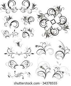 Collection of floral ornaments. Isolated on the white. Vector