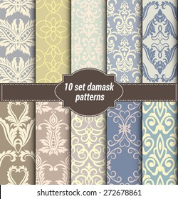 collection of floral patterns for making damask wallpapers, vintage styles, pattern swatches included,
