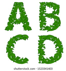 collection floral vintage font. set of letters, ABCD for your design