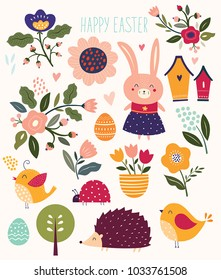 Collection of florals and easter elements. Rabbit, chicks, hedgehog, flowers.