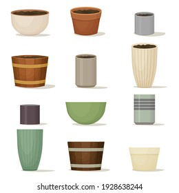Collection of flower pots. Terracotta, ceramic and wooden planters of various shapes and colors. Interior design. Indoor or garden decoration. Vector illustration.