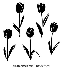 Collection of flower silhouettes, tulip, blossom, leaves, black color, isolated on white background