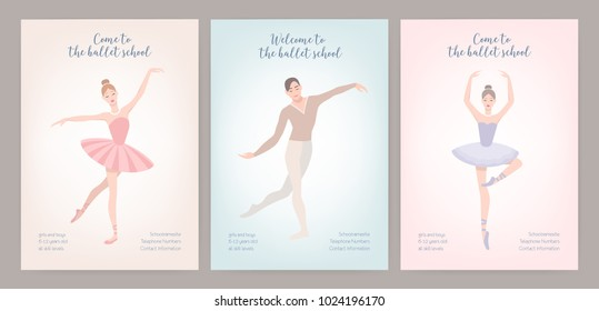 Collection of flyer templates with elegantly dressed male and female ballet dancers in various poses. Flat cartoon vector illustration for classic dance or choreography school promotion, advertising.