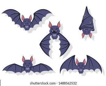 Collection of flying bats. Concept cartoon bat in different poses. Halloween elements set. Vector clipart illustration isolated on white background