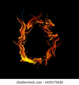 Collection of fonts or letters from fire, modern red fire, fonts Tattoo Fire. The alphabet is hot, ABC is burning. Hot typography. fire lettring, letter O