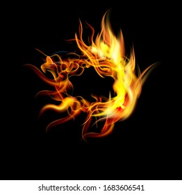 Collection of fonts or letters from fire, modern red fire, fonts Tattoo Fire. The alphabet is hot, ABC is burning. Hot typography. fire lettering, letter O