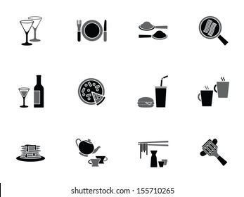 Collection of food and beverage icons depicting wine, coffee, tea, soda, takeaway foods, pizza, hamburger and bacon in a frying pan in square format