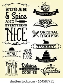 Collection of Food Calligraphic Designs in Vintage Style