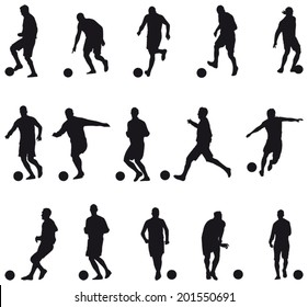 Collection of football players silhouettes (soccer)