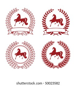 Collection of four arms. Coat of Arms consists of a wreath and the silhouette of a horse. They are located on a white background.