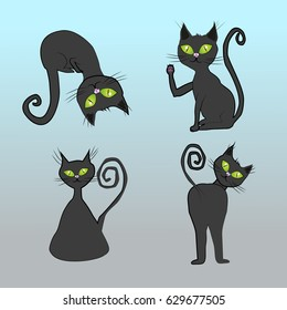 A collection of four black cats