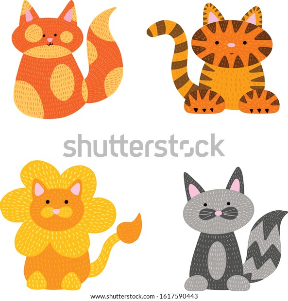 Collection of Four Cat Cartoon Illustrations of A Domestic Cat, Tiger and Lion Vectors