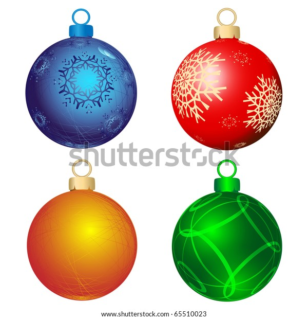 Drawings Of Christmas Ornaments.Collection Four Christmas Ornaments Executed Form Stock