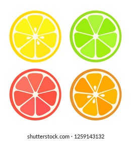 Collection of four citrus fruits icons in flat style. Lemon, lime, orange, grapefruit.