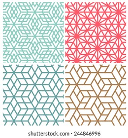 Collection of four color star and cube line vector patterns