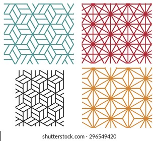 Collection of four color star and cube in geometric line style vector patterns
