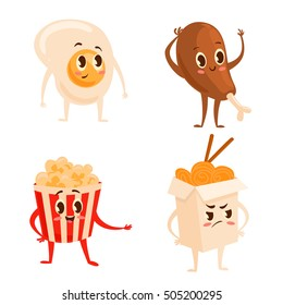 Collection of four colorful cartoon fast food characters: scrambled egg, chinese food, popcorn, chicken leg. Vector illustration of different emotions isolated on white. Cute kawaii food characters.