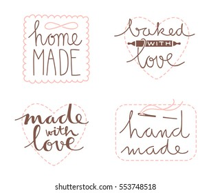 Collection of four cute hand drawn labels or tags for your project
