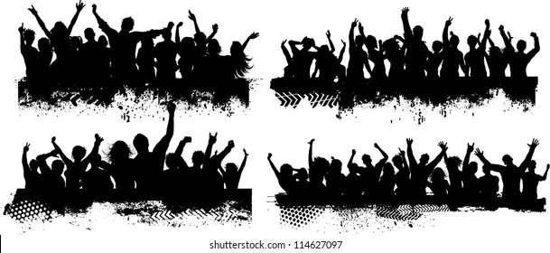 Collection of four different grunge crowd scenes