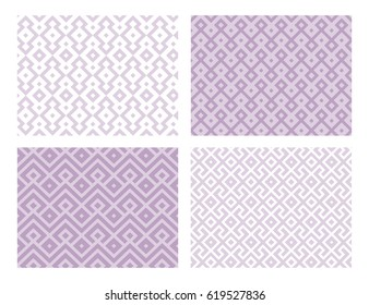 Collection of four geometric seamless patterns. Purple vector background.