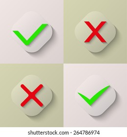 Collection of four icons confirmation and cancellation. Flat. Red. Green. Web. Vector illustration for your design