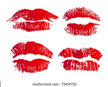 Collection of four illustrated lips on white background
