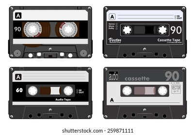 Collection of four plastic audio cassettes tape. Different colorful music tapes. Black set. old technology, realistic retro design, vector art image illustration, isolated on white background eps10